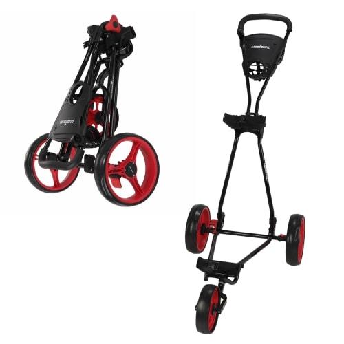 OPEN BOX Caddymatic Golf Continental 3 Wheel Folding Golf Push/Pull Cart Black/Red
