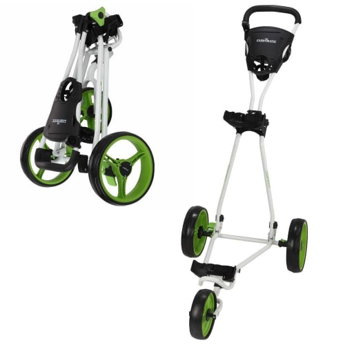 OPEN BOX Caddymatic Golf Continental 3 Wheel Folding Golf Push/Pull Cart White/Green