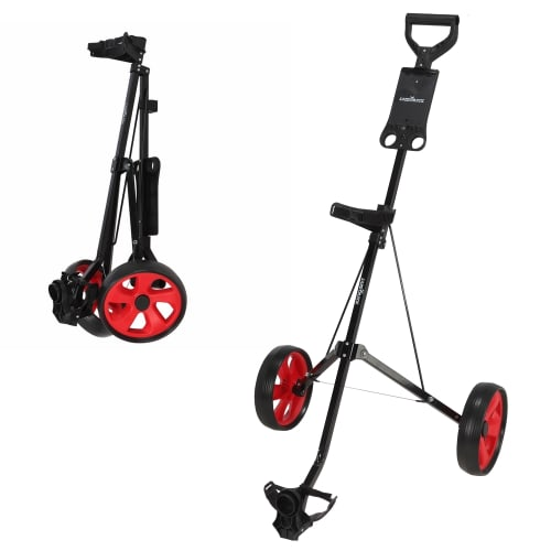 Caddymatic i-Trac 2 Wheel Folding Golf Trolley Black/Red