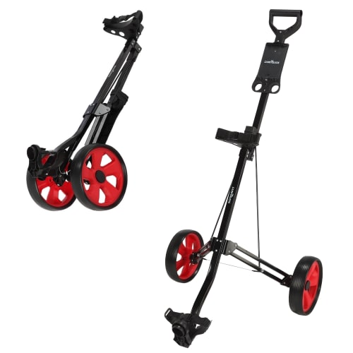 Caddymatic Golf Lite Trac 2 Wheel Folding Golf Cart Black/Red