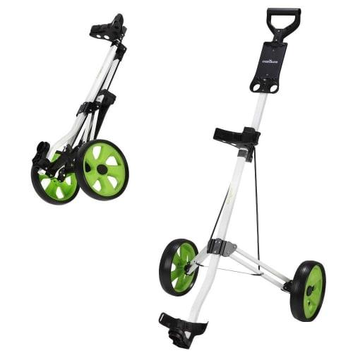 OPEN BOX Caddymatic Golf Lite Trac 2 Wheel Folding Golf Cart White/Green