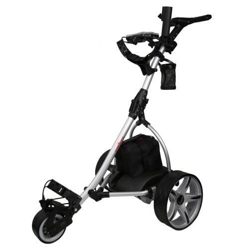 Caddymatic V2 Electric Golf Trolley / Cart With 18 Hole battery With Auto-Distance Functionality Silver / Black