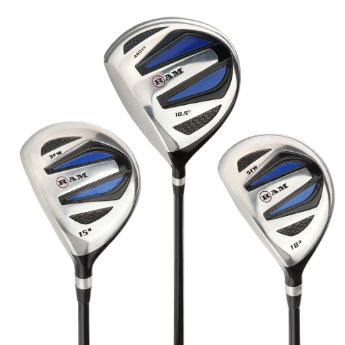 Ram Golf EZ3 Mens Wood Set inc Driver, 3 Wood and 5 Wood - Headcovers Included - Graphite Shafts - LEFTY