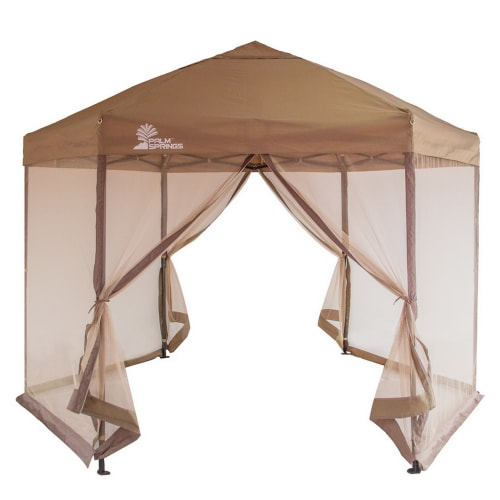 Palm Springs Hexagonal Pop Up Canopy Tent with Mesh Walls
