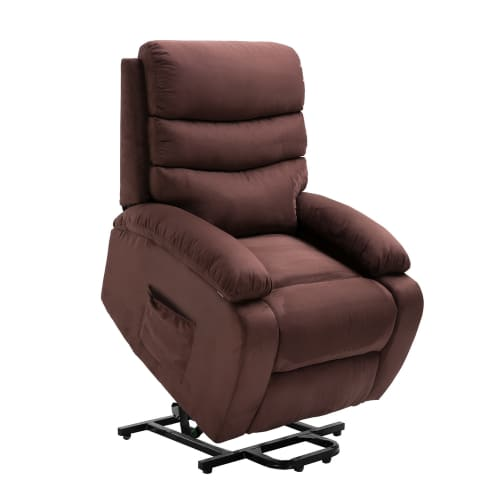 Homegear 2-Remote Microfiber Power Lift Electric Recliner Chair with Massage, Heat and Vibration with Remote - Brown
