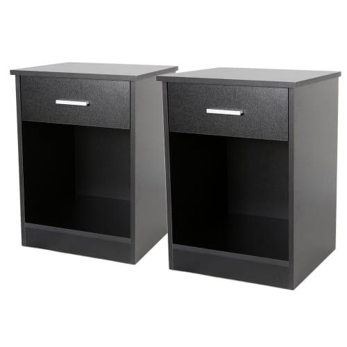 Homegear Bedroom Furniture 2 Piece Bedside Table Set, Black
