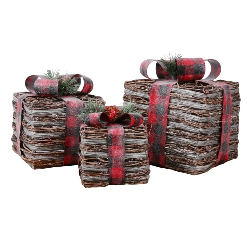Homegear Christmas Set of 3 Pre-lit Gift Present Boxes with 60 LED Lights - Indoor or Outdoor Yard/Lawn Use - Rattan Festive Plaid
