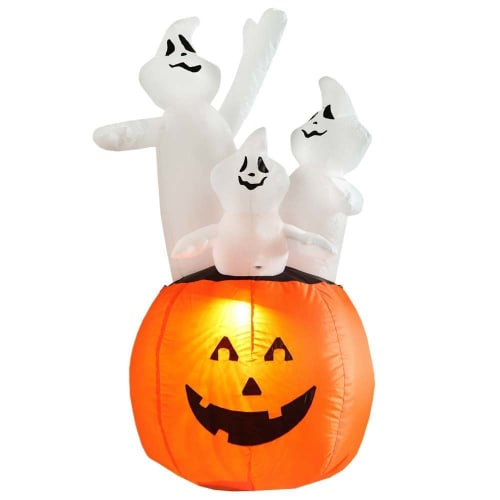 Homegear Halloween Decorations 4 Feet Inflatable Pumpkin/Ghost Combo with LED Glow Light