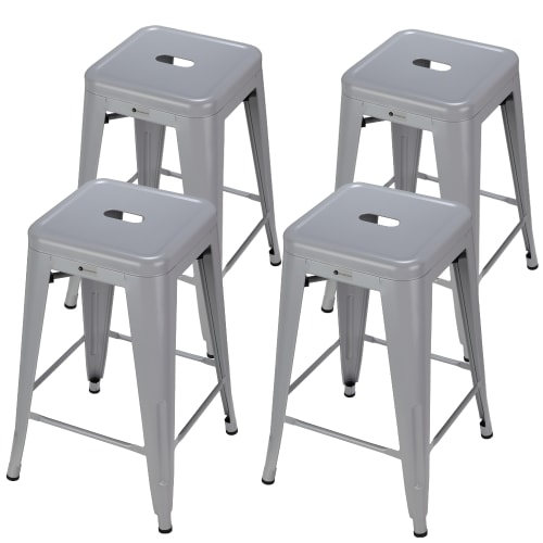 Homegear 4 Pack Stackable Metal Kitchen Stools - Silver