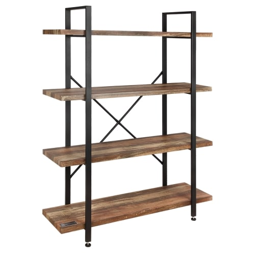 Homegear Furniture Vintage Oak Style 4-Tier Bookcase - Wood Shelves with Black Iron Frame