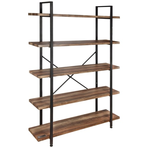 Homegear Furniture Vintage Oak Style 5-Tier Bookcase - Wood Shelves with Black Iron Frame