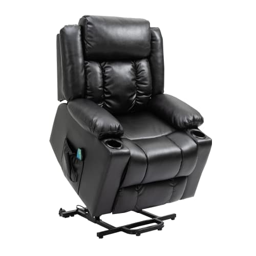 Homegear Air Leather Tri-Motor Reclining Lift Chair with Massage, Black