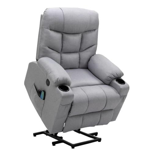 Homegear Fabric Power Lift Electric Recliner Chair w/ Massage, Grey