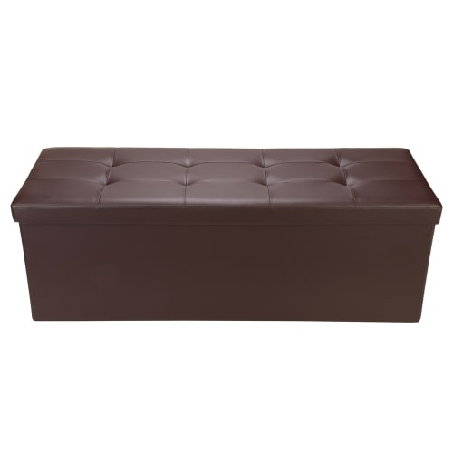 "Homegear 43.3"" Folding Storage Ottoman / Footstool Brown"