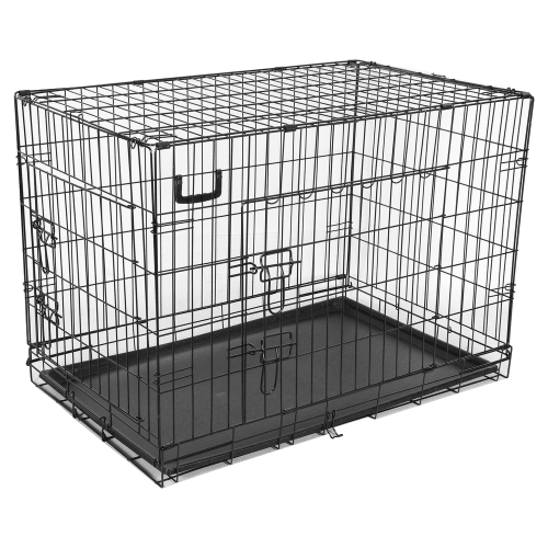 HQ Pet Dog Folding 2 Door Deluxe Crate Puppy Carrier Training Cage Without Bed - Large