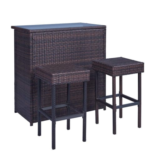 Palm Springs Wicker Style 3 Piece Outdoor Bar Set with Stools