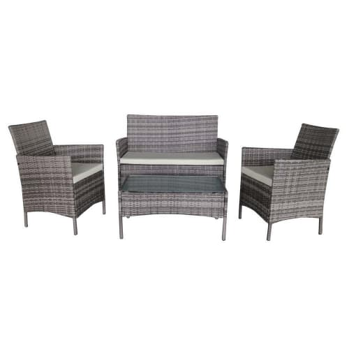 Palm Springs Deluxe 4Pc Rattan Sofa Chair and Table Set - Grey