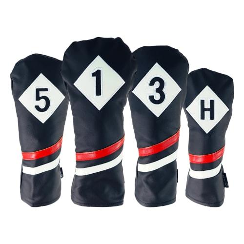 Ram Golf Premium Vintage Style PU Leather Headcovers Set, Retro Black, Driver, Fairway Woods, Hybrid (1,3,5,X)