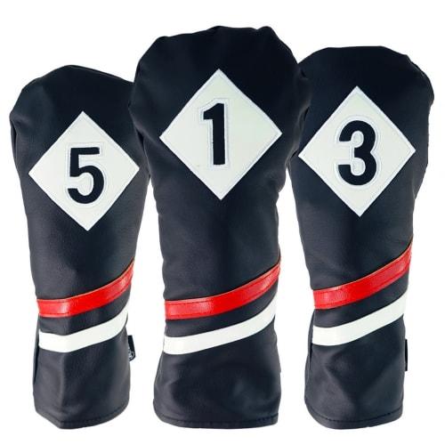 Ram Golf Premium Vintage Style PU Leather Headcovers Set, Retro Black, Driver, Fairway Woods (1,3,5)