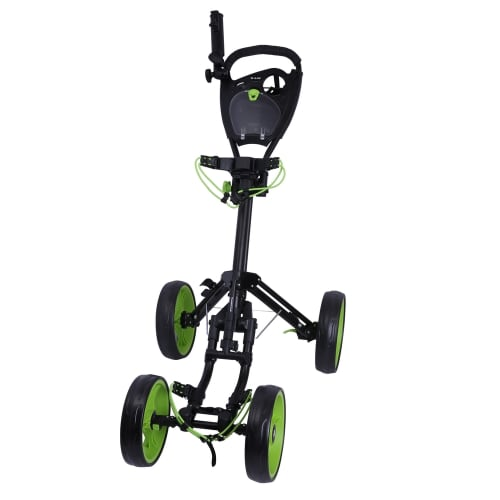 Ram Golf Deluxe FX 4 Wheel Golf Trolley - Black/Green