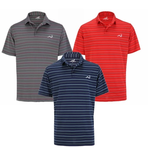 Woodworm Golf Clothes Select Stripe Mens Polo Shirts – 3 Pack
