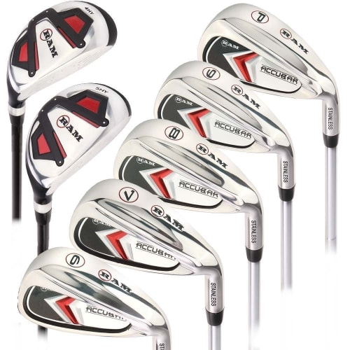 Ram Golf Accubar Mens Clubs 1 Inch Longer Iron Set 6-7-8-9-PW with Hybrids 24° and 27°