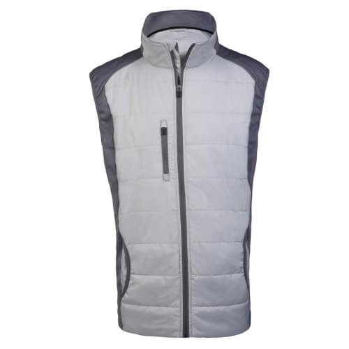 Woodworm Full Zip Padded Mens Gilet Golf Vest - Grey