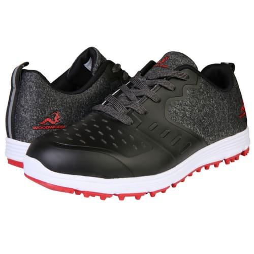 Woodworm Golf Sense Spikeless Golf Shoes, Mens, Black/Red