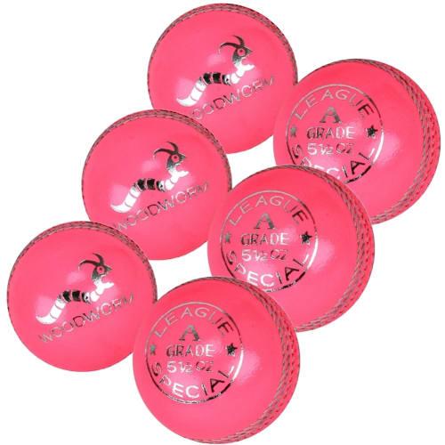 6 x Woodworm League 5 1/2oz Cricket Balls - Pink