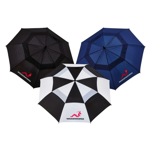"3x Woodworm Double Canopy 60"" Golf Umbrellas"
