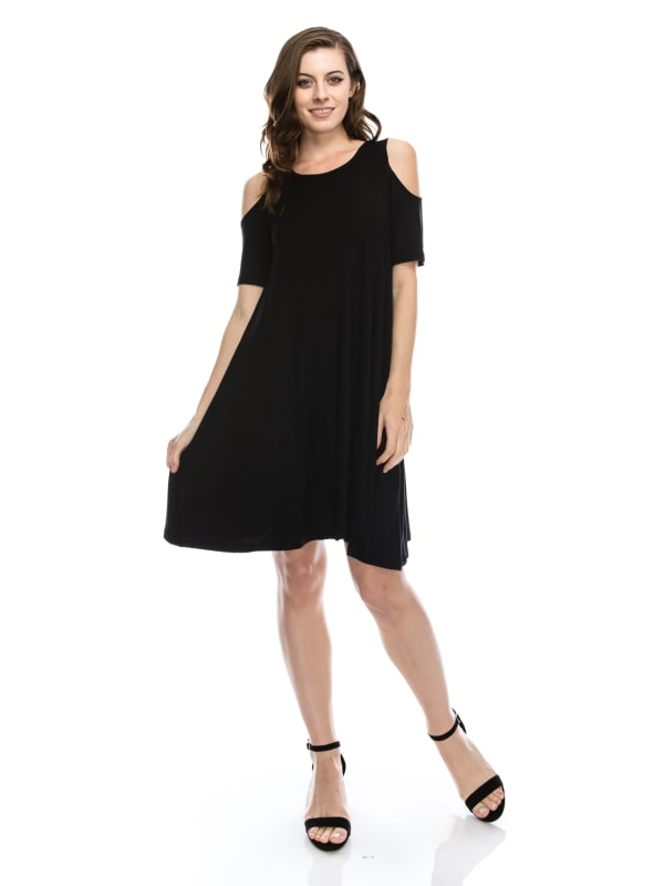 Plus Size Open Shoulder Tunic Shift Dress Swing Top Flowy Short Sleeve - MADE IN USA - All Sizes + Colors