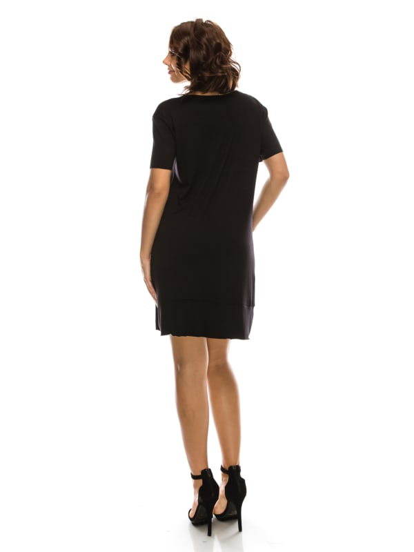 V-Neck Dress Raw Sleeves and Bottom Hem w/ Pockets - Made in USA - All Colors + Sizes