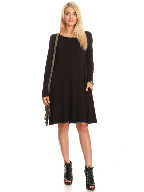 Round Neck Solid Relaxed Fit Dress w/ Long Sleeves and Pockets - Made in USA