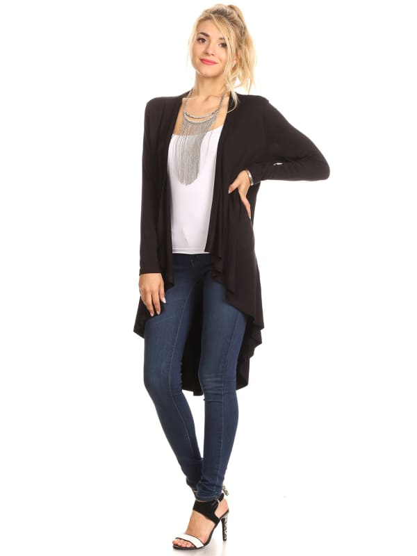 Hi-Lo Long Sleeve Open Front Cardigan