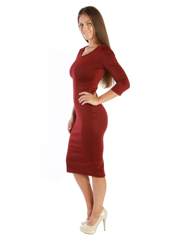 Maxi Fitted Bodycon Midi Dress w/ ¾ Short Sleeve Scoop Neck - MADE IN USA - All Sizes + Colors