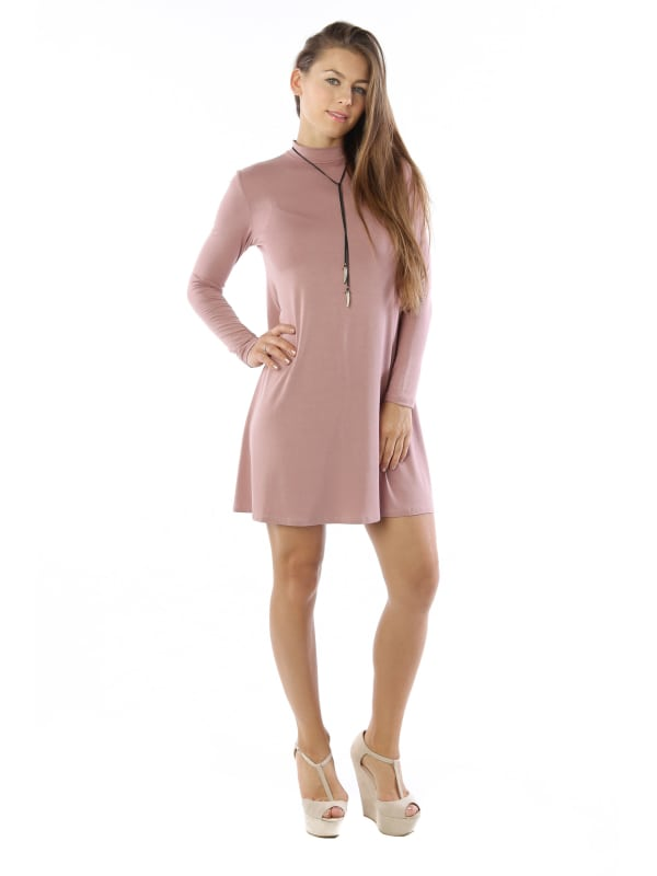 Flowy Tunic Tank Fashion Dress w/ Long Sleeve Mock Neck Swing Top - MADE IN USA - All Sizes + Colors