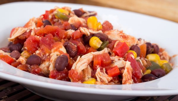 Chicken Tenders with Spicy Tomatoes and Black Beans