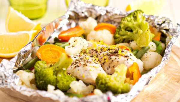Foil-baked chicken breast