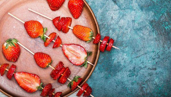 Yogurt-dipped berry skewers