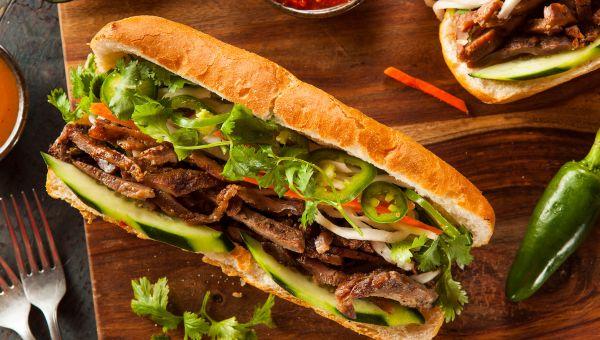 Banh mi with kim chee and chicken sandwich