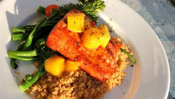 Honey Mustard Salmon with Mango Quinoa