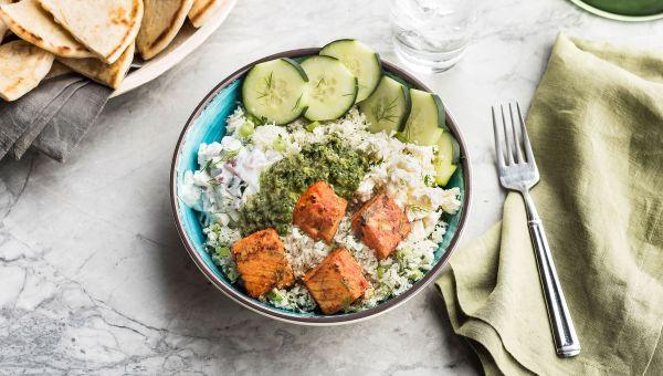 Zoës Kitchen: Cauliflower Rice Bowl with Salmon