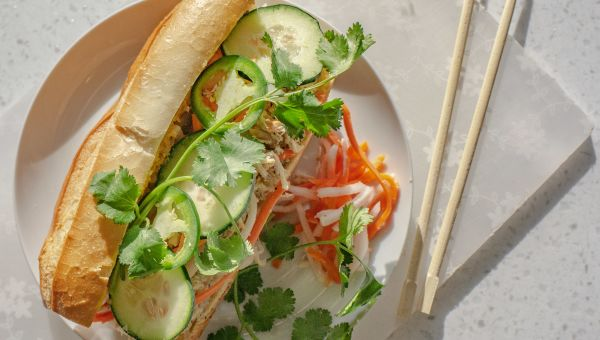 Banh mi with kim chee and chicken sandwich