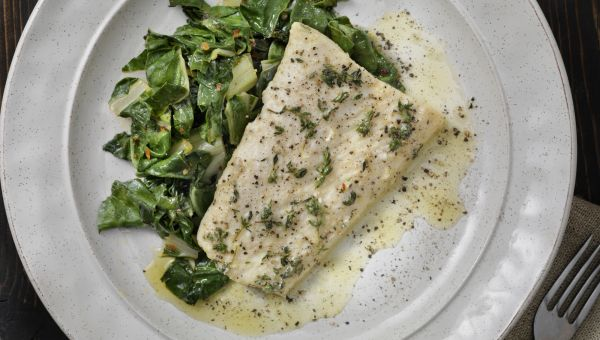 Poached Sea Bass with Basil Broth Recipe