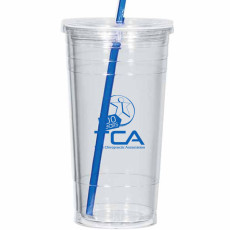 Logo 24 Oz. Double Wall Acrylic Tumbler with Straw