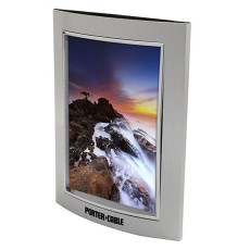 "4"" x 6"" Curved Brushed Silver Metal Photo Frame with Glass Lens"