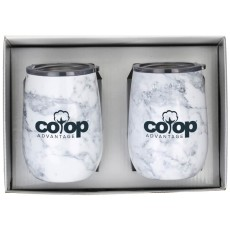 Stainless Steel Marble Wine Tumbler Gift Set