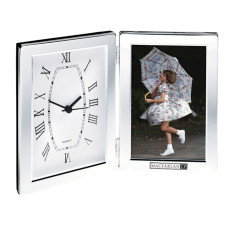 "Imprinted 4""x6"" Photo Frame & Hinged Clock"