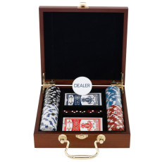 100 Chips Poker Set In Executive Wood Case
