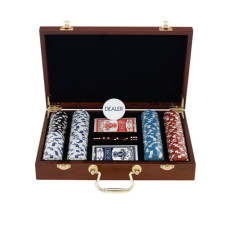 200 Chips Poker Set In Executive Wood Case